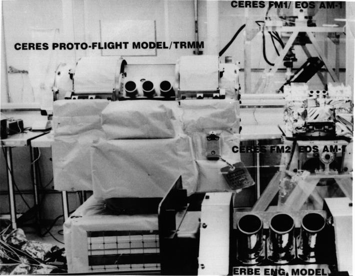 'Family portrait' showing the ERBE Engineering Model and the CERES PFM, FM1, and FM2 which fly on TRMM and Terra. ERBE scanners flew on ERBS, NOAA-9 and NOAA-10 from 1984 to 1990.